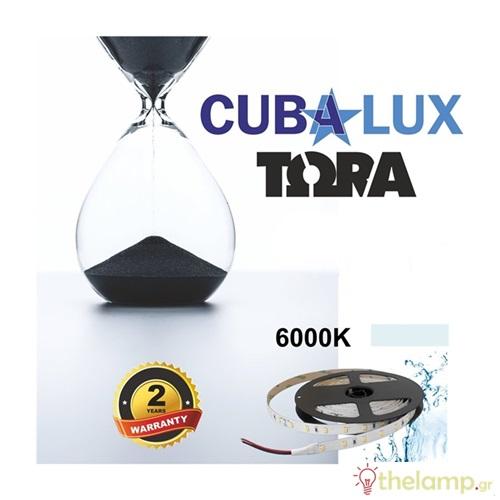 Led ταινία 24V 12W 60led day light 6000K με αυτοκόλλητο TΩRA IP65 Cuba Lux