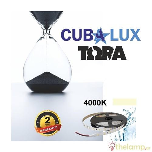 Led ταινία 24V 12W 60led cool white 4000K με αυτοκόλλητο TΩRA IP65 Cuba Lux