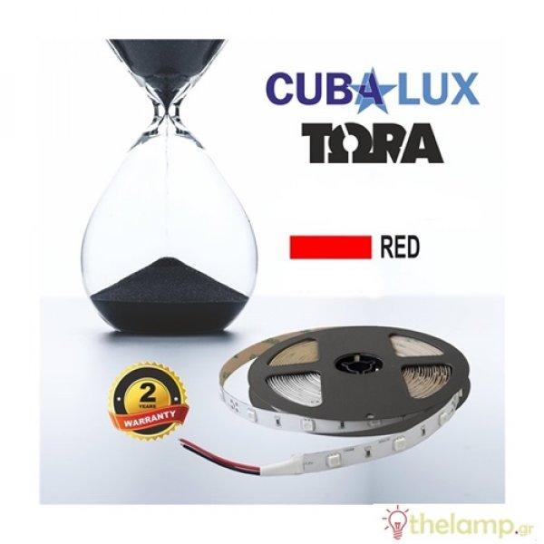 Led ταινία 12V 7.2W 30led κόκκινη με αυτοκόλλητο TΩRA IP20 Cuba Lux