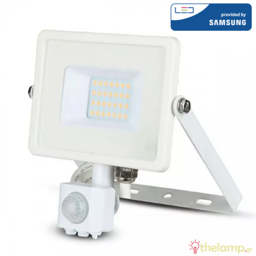 Προβολέας led 20W 230V 100° cool white 4000Κ λευκό Samsung chip με αισθητήρα κίνησης 449 VT-20-S V-TAC