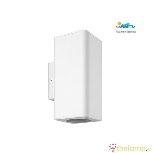 Φωτιστικό τοίχου εξωτερικού χώρου τετράγωνο λευκό 2xGU10 220-240V Φos_me
