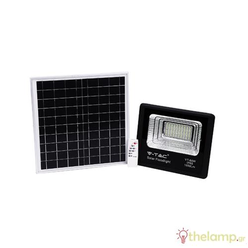 Προβολέας led ηλιακός 20W 240V 120° day light 6400K μαύρος 94010 VT-60W V-TAC