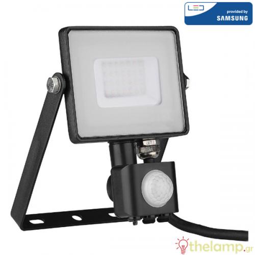 Προβολέας led 30W 240V 100° day light 6400K μαύρος Samsung chip με αισθητήρα κίνησης 462 VT-30-S V-TAC