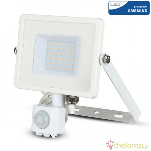 Προβολέας led 30W 240V 100° warm white 3000K λευκός Samsung chip με αισθητήρα κίνησης 457 VT-30-S V-TAC