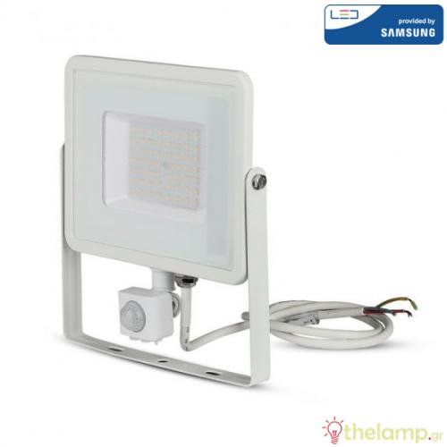 Προβολέας led 50W 230V 100° cool white 4000K λευκός Samsung chip με αισθητήρα κίνησης 467 VT-50-S V-TAC