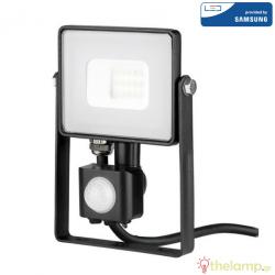 Προβολέας led 10W 240V 100° cool white 4000K μαύρος Samsung chip με αισθητήρα κίνησης 437 VT-10-S V-TAC