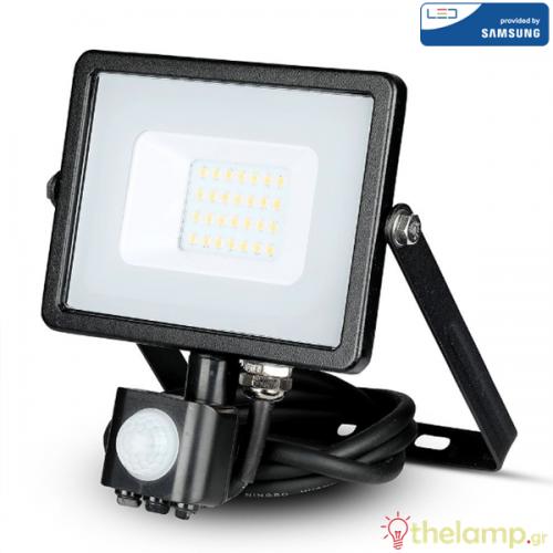 Προβολέας led 20W 230V 100° cool white 4000K μαύρος Samsung chip με αισθητήρα κίνησης 452 VT-20-S V-TAC
