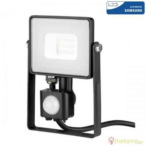 Προβολέας led 10W 240V 100° day light 6400K μαύρος Samsung chip με αισθητήρα κίνησης 438 VT-10-S V-TAC