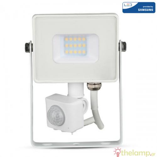 Προβολέας led 10W 240V 100° warm white 3000K λευκός Samsung chip με αισθητήρα κίνησης 433 VT-20-S V-TAC