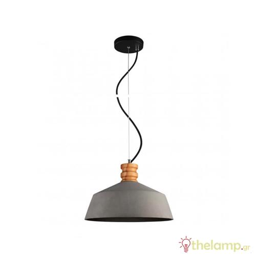 Φωτιστικό κρεμαστό τσιμεντένιο με ξύλο E27 240V ανθρακί 09067/AN