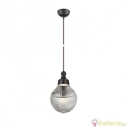 Φωτιστικό κρεμαστό μέταλλο & γυαλί G9 240V καφέ/γκρι 03069PE/BR