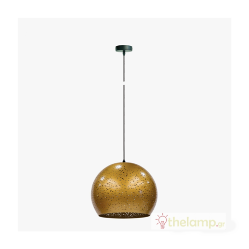 Φωτιστικό κρεμαστό μεταλλικό E27 240V χρυσό 03121PE/GD