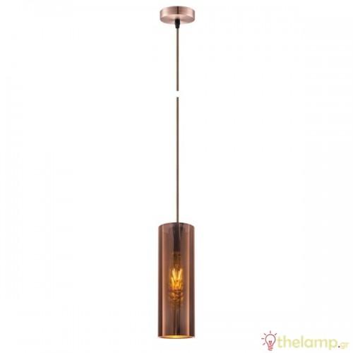 Φωτιστικό κρεμαστό μεταλλικό E27 240V χάλκινο 03165/COP/10