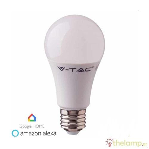 Led κοινή WiFi A60 10W E27 170-265V συμβατή με Amazon Alexa & Google Home RGB+3000K+6400K dimmable 2751 VT-5119 V-TAC