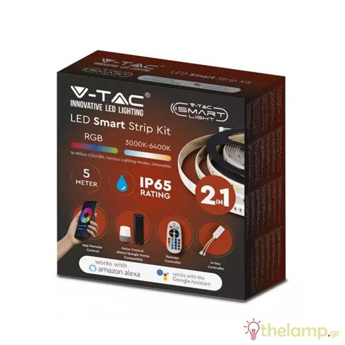 Led ταινία σετ WiFi 12V 28W με χειριστήριο RF συμβατή με Amazon Alexa & Google Assistant RGB+3000K-6400K 2628 IP65 V-TAC